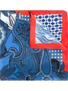 Etro Paisley Print Scarf, Men's, Blue, Silk