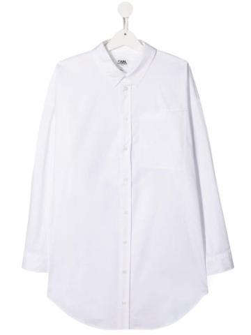 Karl Lagerfeld Kids Teen Embellished Logo Shirt - White