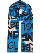 Burberry Graffiti Cotton Jacquard Scarf - Blue