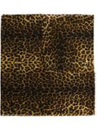 Saint Laurent Leopard Print Scarf, Women's, Brown, Wool