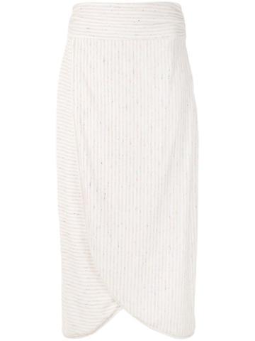 Framed Crispy Midi Skirt - White