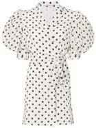 Alessandra Rich Polkadot Collared Wrap Dress - White