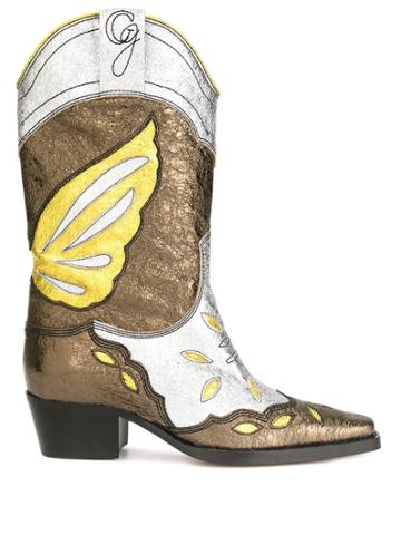 Ganni Butterfly Cowboy Boots - Gold