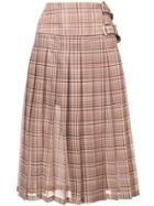 Toga Plaid Print Pleated Skirt - White