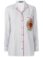 Dolce & Gabbana Striped Brooch Detail Blouse - Grey