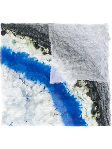 Faliero Sarti Abstract Print Scarf - Blue
