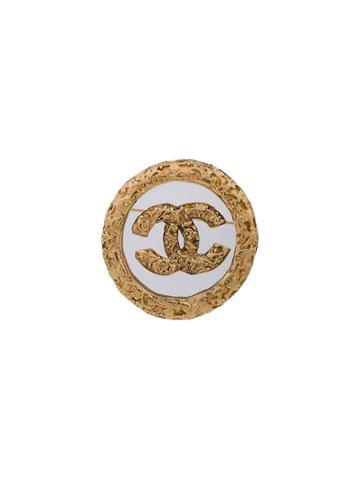 Chanel Vintage Baroque Logo Brooch - Metallic