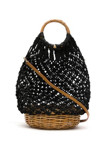 Serpui Macramé Bucket Bag - Black