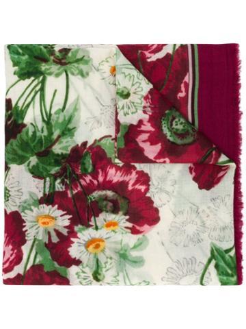 Gucci Floral Print Scarf - Purple