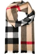 Burberry Checked Scarf, Women's, Brown, Cashmere