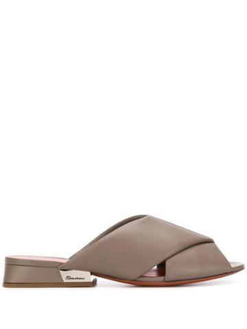 Santoni Crossed Detail Mules - Neutrals