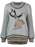 Alberta Ferretti Stag Embellished Sweater - Grey