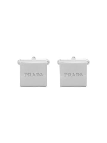 Prada Logo Embossed Square Cufflinks - Metallic