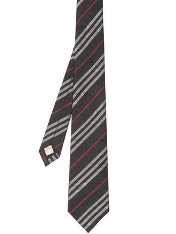 Burberry Classic Cut Striped Silk Jacquard Tie - Black