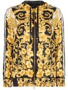Versace Zip Front Baroque Print Hooded Jacket - Yellow