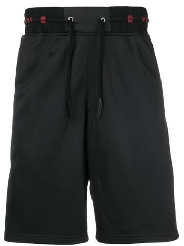 Givenchy Logo Waistband Track Shorts - Black