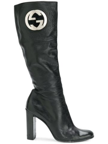 Gucci Pre-owned Logo Leather Boots - Black