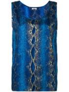 Yves Saint Laurent Pre-owned Snakeskin Print Sleeveless Top - Blue