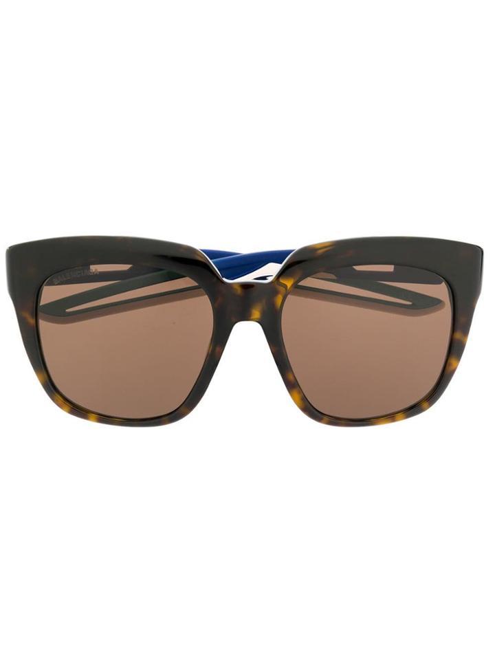 Balenciaga Eyewear Oversized Tortoiseshell Sunglasses - Brown