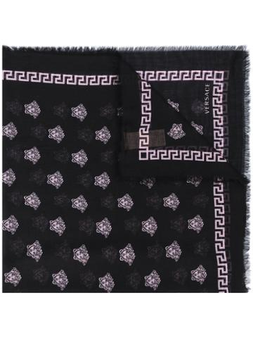 Versace - Patterned Scarf - Women - Silk/modal - One Size, Black, Silk/modal