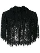 Co Cropped Lace Jacket, Women's, Black, Nylon/polyester/wool