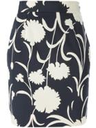 Moschino Vintage Floral Print Pencil Skirt - Blue