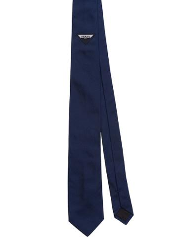 Prada Tie With Jacquard Logo - Blue