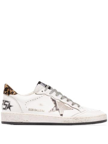 Golden Goose Ball Star Leopard And Snake-print Sneakers - White
