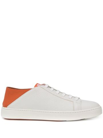 Santoni Orange Leather Sneaker - White