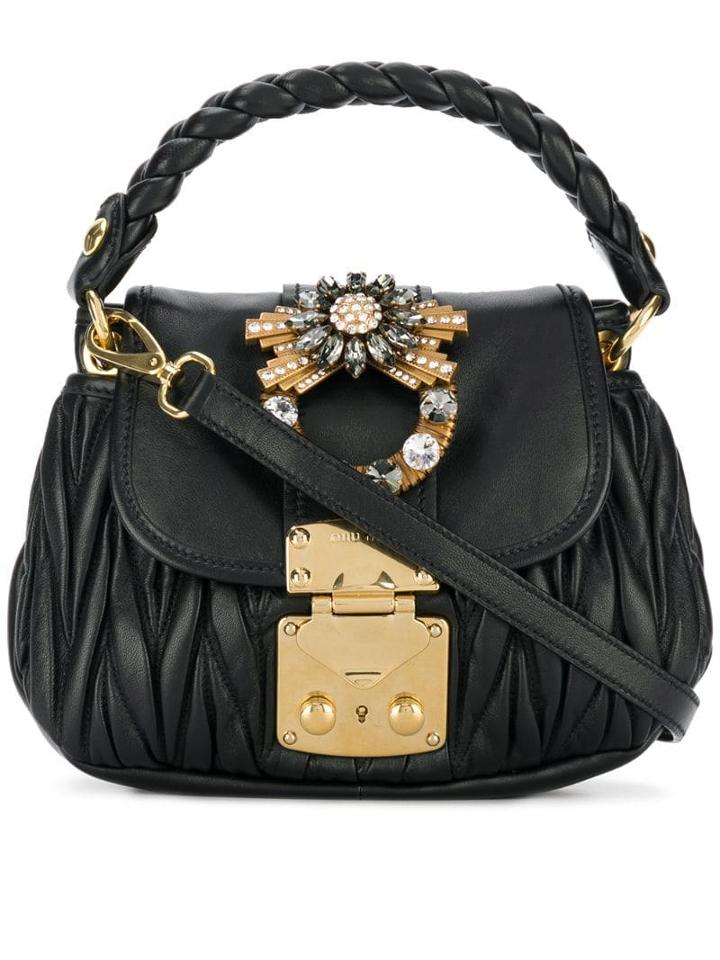 Miu Miu Mini Matelassé Shoulder Bag - Black