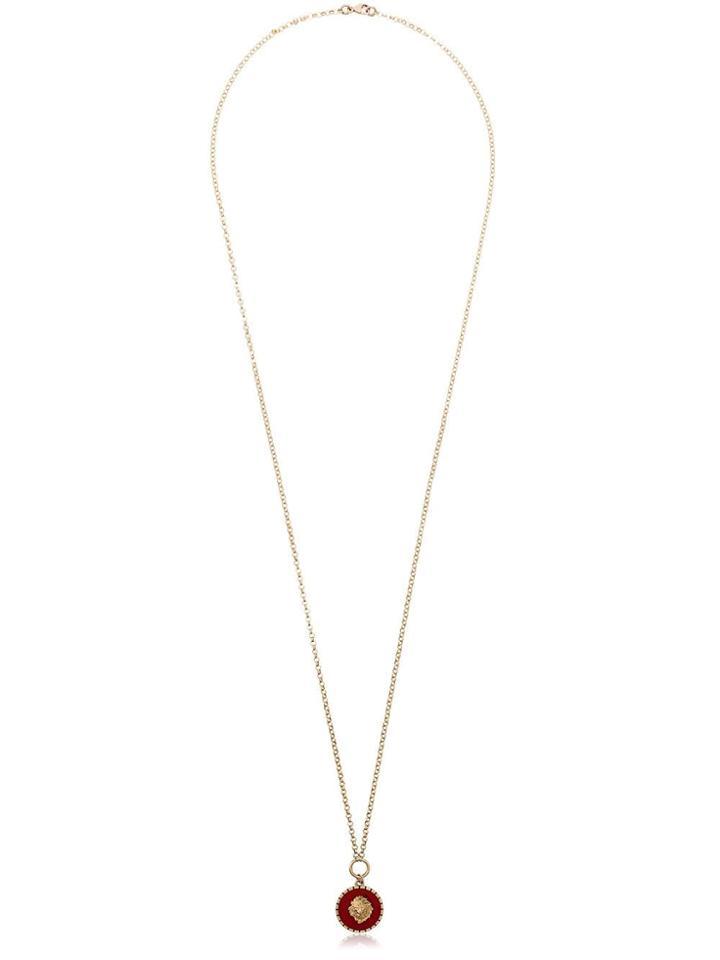 Foundrae 18k Yellow Gold Lion Enamel Necklace