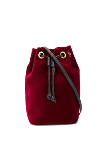L'autre Chose Mini Bucket Bag In Velluto Bordeaux - Red