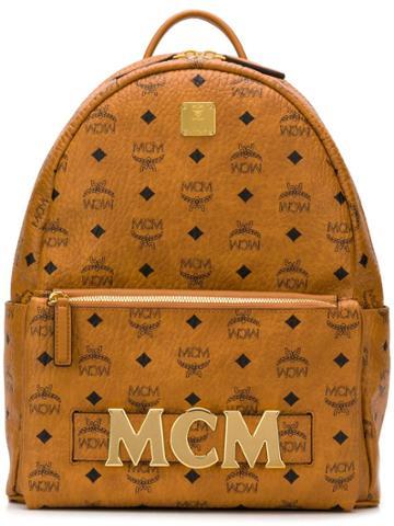 Mcm Printed Logo Backpack - Brown