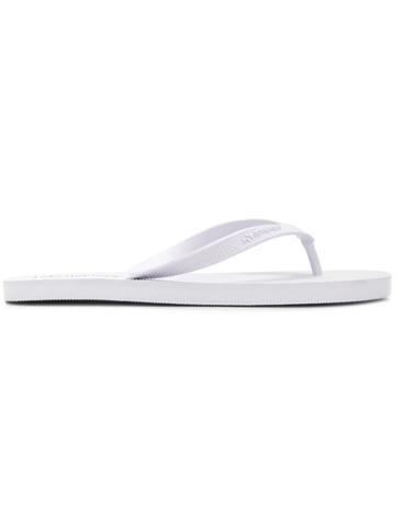 Superga Embossed Logo Flip Flops - White