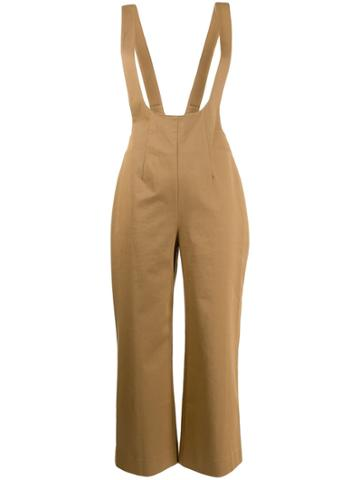 Alexa Chung Cropped Dungaree Jumpsuit - Brown