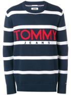 Tommy Jeans Striped Logo Jumper - Blue