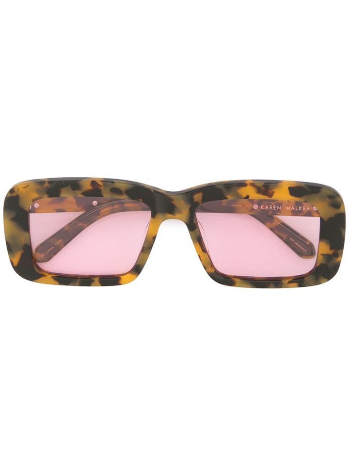Karen Walker Admiral Boom Crazy Tort Sunglasses - Yellow & Orange