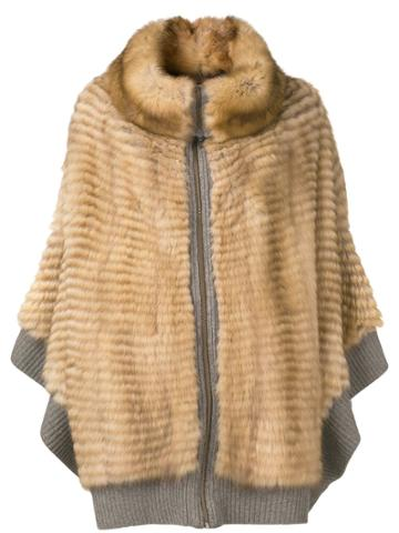 Liska Rib Trimmed Poncho - Brown