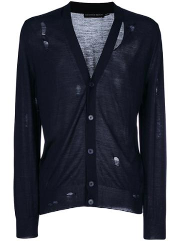 Alexander Mcqueen - Distressed Cardigan - Men - Silk/wool - Xl, Blue, Silk/wool