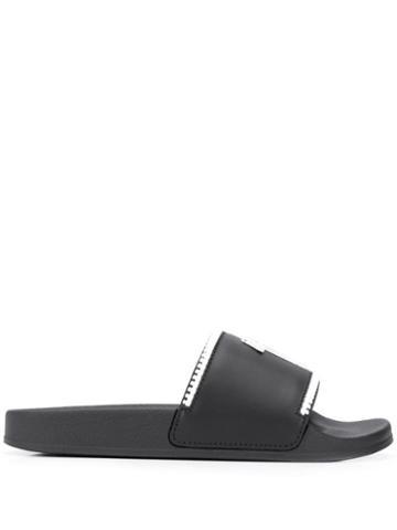 Giuseppe Zanotti Logo Strap Slides - Black