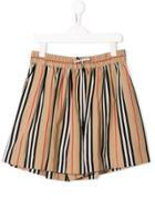 Burberry Kids Signature Stripe Shorts - Neutrals