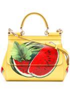 Dolce & Gabbana - Watermelon Print Handbag - Women - Calf Leather - One Size, Yellow/orange, Calf Leather