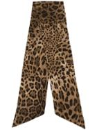 Dolce & Gabbana Animal Print Slim Scarf - Brown