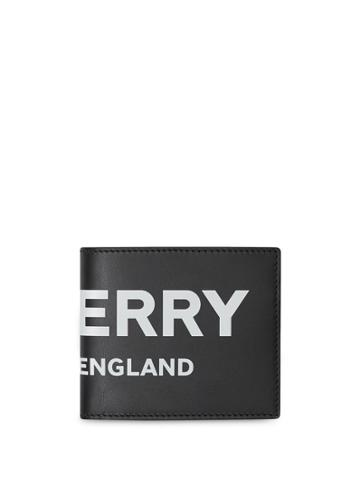 Burberry Logo Print Leather Bifold Wallet With Id Card Case - Black