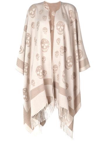 Alexander Mcqueen - Skull Cape Scarf - Women - Wool/cashmere - One Size, Nude/neutrals, Wool/cashmere