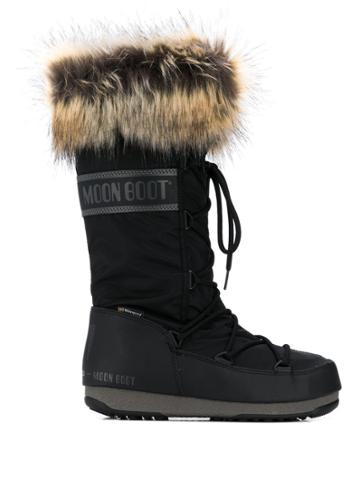 Moon Boot Fur-trimmed Snow Boots - Black