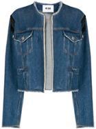 Msgm Collarless Denim Jacket - Blue
