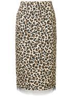 No21 Leopard Print Pencil Skirt - Brown