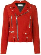 Saint Laurent - Classic Motorcycle Jacket - Women - Cotton/polyester/cupro/goat Suede - 42, Red, Cotton/polyester/cupro/goat Suede