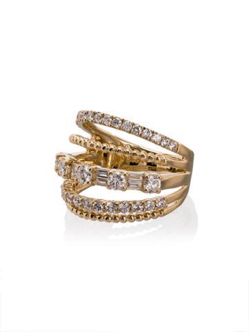 Shay 18kt Yellow Gold Closed Mixed Diamond Ring - Metallic